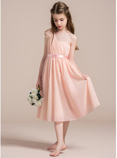 A-Line One-Shoulder Tea-Length Chiffon Junior Bridesmaid Dress With Ruffle Bow(s)
