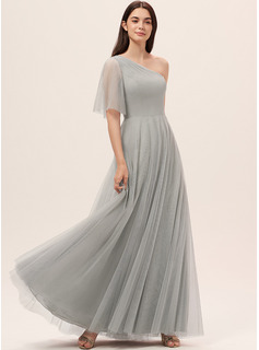 A-Line One-Shoulder Floor-Length Chiffon Tulle Bridesmaid Dress