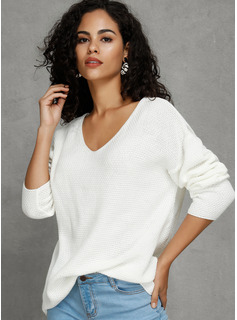 Solid Grid Polyester V-neck Pullovers Sweaters