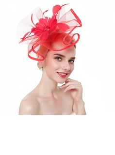 Dames Style Classique/Simple Fil net avec Feather Chapeaux de type fascinator