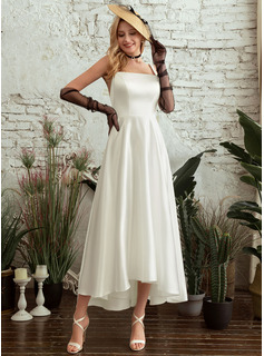 Square Neckline Asymmetrical Wedding Dress