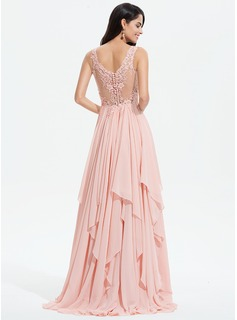 A-Line V-neck Sweep Train Chiffon Prom Dresses With Lace Beading Sequins