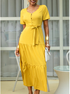 Polyester With Solid Maxi Dress