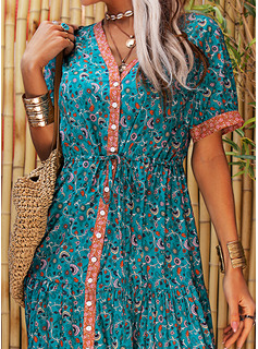 Print A-line V-Neck Short Sleeves Midi Boho Casual Vacation Skater Dresses