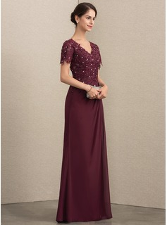V-neck Floor-Length Chiffon Lace Mother of the Bride Dress With Beading