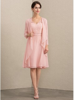 A-Line V-neck Knee-Length Chiffon Mother of the Bride Dress With Beading Sequins