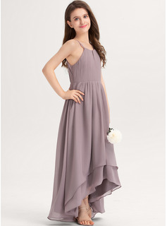 Scoop Neck Asymmetrical Chiffon Junior Bridesmaid Dress With Ruffle Bow(s)