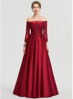 Ball-Gown/Princess Off-the-Shoulder Floor-Length Satin Prom Dresses