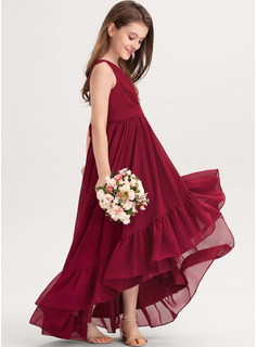 V-neck Asymmetrical Chiffon Junior Bridesmaid Dress With Bow(s) Cascading Ruffles