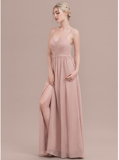 A-Line/Princess Sweetheart Floor-Length Chiffon Prom Dresses With Ruffle Split Front