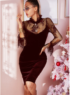 Lace Solid Bodycon High Neck Long Sleeves Midi Little Black Party Dresses