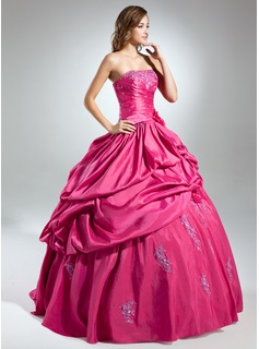 Ball-Gown Strapless Floor-Length Taffeta Quinceanera Dress With Ruffle Beading Appliques Lace Flower(s)