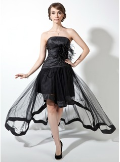 A-Line/Princess Strapless Asymmetrical Taffeta Tulle Prom Dress With Ruffle Feather