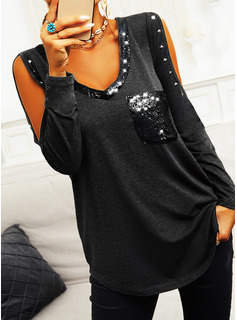 Regular Fitted Sequins Solid Casual Long Sleeves