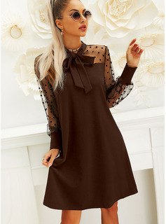 PolkaDot Solid Shift Butterfly Collar Long Sleeves Puff Sleeves Midi Little Black Party Dresses