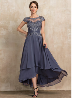 Scoop Neck Asymmetrical Chiffon Lace Mother of the Bride Dress With Beading