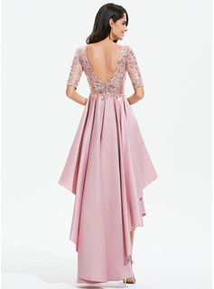 A-Line Scoop Neck Asymmetrical Satin Evening Dress With Lace Sequins