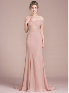 99b5d8cfd65e ... Trumpet/Mermaid Off-the-Shoulder Court Train Chiffon Lace Bridesmaid  Dress With Beading ...