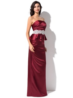 Sheath/Column Strapless Floor-Length Charmeuse Evening Dress With Ruffle Beading Appliques Lace Sequins