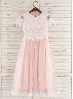 Tea-length Flower Girl Dress - Tulle Lace Short Sleeves Scoop Neck With Flower(s)