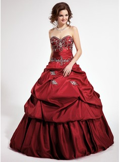 Ball-Gown Sweetheart Cathedral Train Detachable Taffeta Quinceanera Dress With Embroidered Ruffle Beading Sequins
