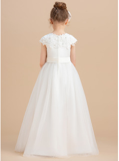 Floor-length Flower Girl Dress - Satin Tulle Sleeveless Scoop Neck With Beading Appliques