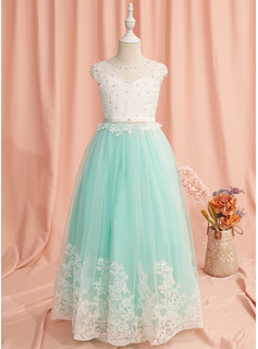 Ball-Gown/Princess Floor-length Flower Girl Dress - Tulle Sleeveless Scoop Neck With Lace/Beading/Bow(s)/V Back