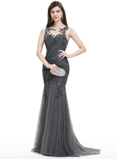 Trumpet/Mermaid Scoop Neck Sweep Train Tulle Lace Evening Dress With Sequins Pleated