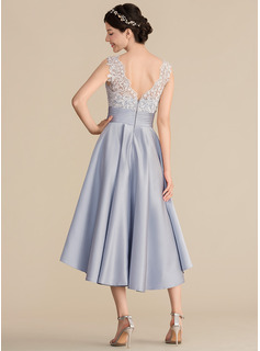 V-neck Asymmetrical Satin Lace Bridesmaid Dress With Ruffle