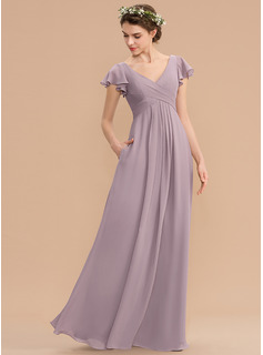 V-neck Floor-Length Chiffon Bridesmaid Dress With Cascading Ruffles Pockets