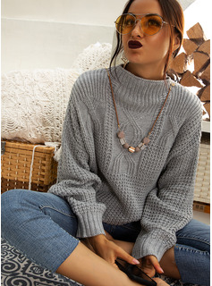 Cable-knit Chunky knit Solid Polyester Stand Collar Pullovers Sweaters
