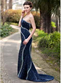 Trumpet/Mermaid One-Shoulder Court Train Satin Evening Dress With Beading