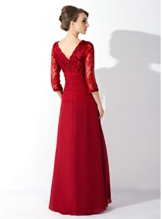 A-Line/Princess V-neck Floor-Length Chiffon Lace Mother of the Bride Dress With Ruffle Beading Sequins