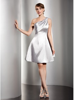 Empire One-Shoulder Knee-Length Charmeuse Homecoming Dress With Ruffle