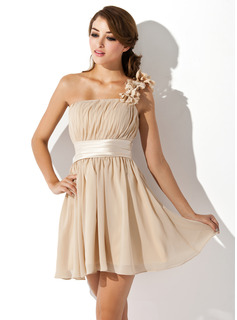 One-Shoulder Short/Mini Chiffon Bridesmaid Dress With Ruffle Flower(s) Bow(s)