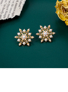 Ladies' Snowflakes Shaped Alloy/Rhinestones/Imitation Pearls Earrings