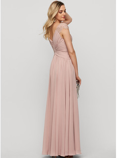 V-neck Floor-Length Chiffon Evening Dress With Beading Sequins Split Front