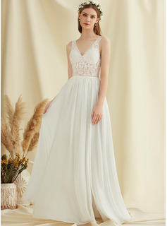 A-Line V-neck Floor-Length Chiffon Lace Wedding Dress With Sequins Split Front