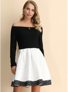 Cotton/Lace/Cotton Blends With Stitching Above Knee Dress