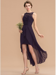 off-the-shoulder tea-length bridesmaid dress