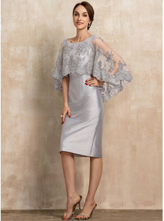 Sheath/Column Scoop Neck Knee-Length Taffeta Lace Cocktail Dress With Beading Sequins