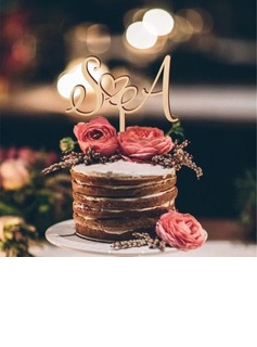 Personalized Double Hearts/Simple Wooden Cake Topper