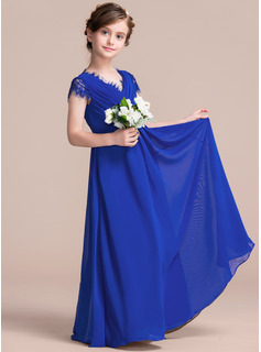 A-Line V-neck Floor-Length Chiffon Junior Bridesmaid Dress With Ruffle Lace Bow(s)