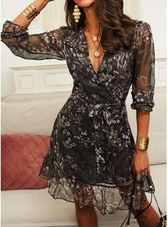 Floral Print A-line V-Neck Long Sleeves Midi Casual Skater Wrap Dresses