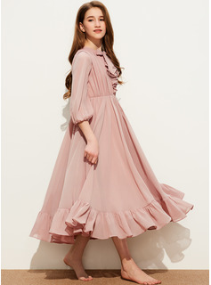 A-Line Scoop Neck Tea-Length Chiffon Junior Bridesmaid Dress With Bow(s) Cascading Ruffles