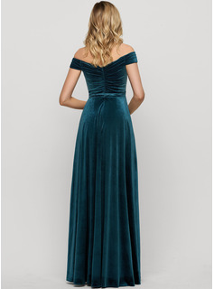 A-Line Off-the-Shoulder Floor-Length Velvet Evening Dress With Split Front