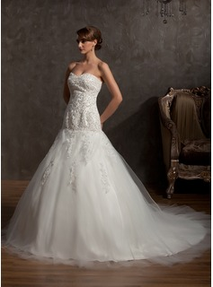 Ball-Gown Sweetheart Cathedral Train Tulle Lace Wedding Dress With Beading