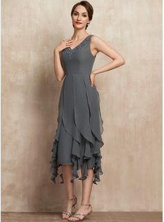 Sheath/Column V-neck Asymmetrical Chiffon Mother of the Bride Dress With Beading Appliques Lace Sequins Cascading Ruffles