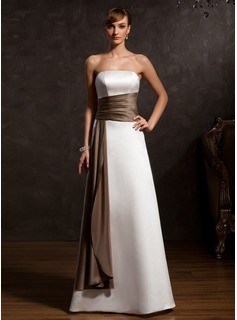 A-Line/Princess Strapless Floor-Length Satin Mother of the Bride Dress With Sash