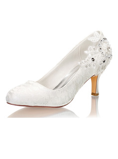 Women's Lace Silk Like Satin Stiletto Heel Closed Toe Pumps With Sequin Stitching Lace Crystal